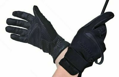 HKM German Strong Super Grip Riding Gloves in Black - Soft Stretchy & Strong!