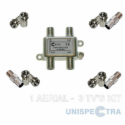 TV Splitter 1 AERIAL TO 3 TV's CONNECTORS PROFESSIONAL KIT