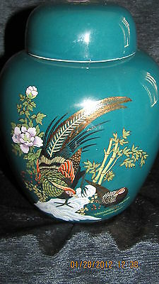BEAUTIFUL GREEN/FLORAL PEACOCK  7 INCH JAPANESE GINGER JAR WITH LID