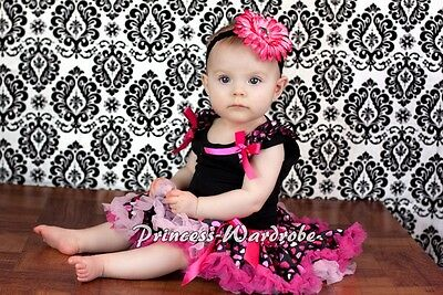 Newborn Baby Hot Light Pink Sweet Heart Pettiskirt Tutu Ruffle Black Top 3-12M