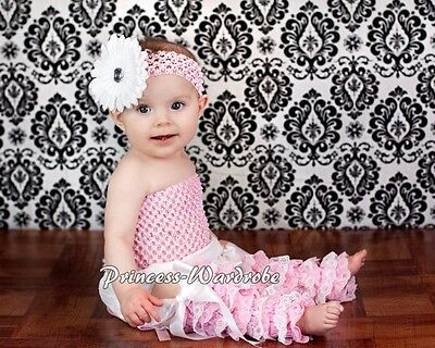 Baby Girl Pale Pink White Lace Leg Warmer Stocking Accessory For Pettiskirt 2-6Y