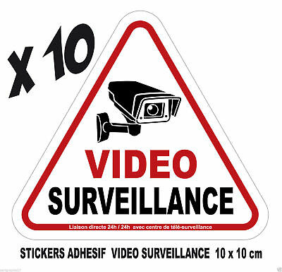 Lot 10 adhesifs stickers ALARME Attention surveillance vidéo camera  ref ADH 001