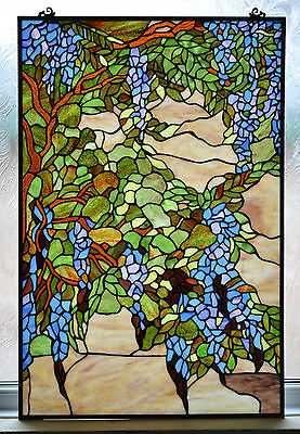 WP04 Handmade Tiffany Stained Glass Window Panel - Wisteria Design - Home/Gift
