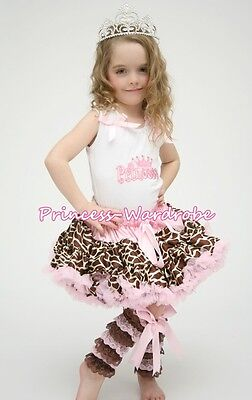 White Pettitop Top in PRINCESS Printing with Light Pink Giraffe Pettiskirt 1-8Y