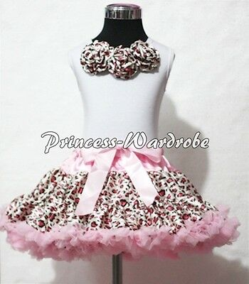 Pink Leopard Pettiskirt White Pettitop Top with Matched Rosettes Set Girl 1-8Y