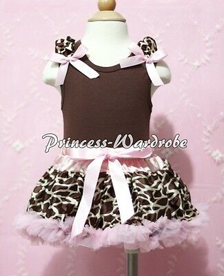 Newborn Baby Pink Giraffe Pettiskirt Tutu Ruffle & Various Bow Brown Top 3-12M