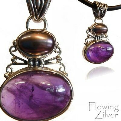 925 SOLID Sterling Silver Amethyst & Grey Pearl Necklace Pendant Balinese Gift
