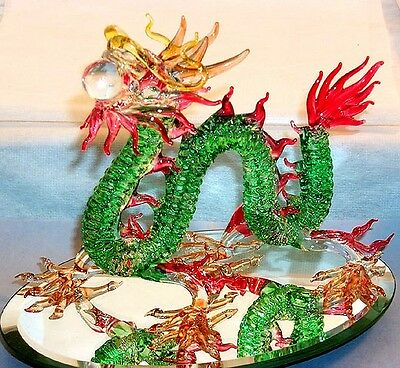 DRAGON Chinese ARTGLASS figurine X-Large size, a good fortune + health symbol