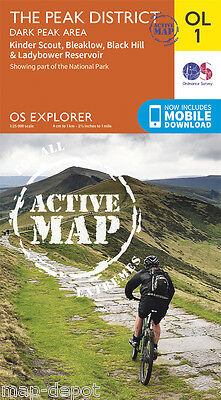 THE PEAK DISTRICT (Dark Peak Area) EXPLORER ACTIVE Map - OL 1 - OS Ordnance