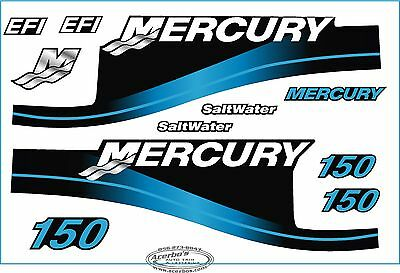 Mercury Outboard Motor 150 HP Horse Power Decal Kit - Blue Saltwater EFI Boating