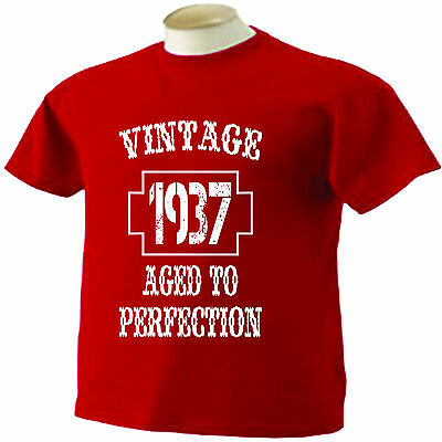 80th Birthday T Shirt 80 Years Old Vintage 1937 Aged To Perfection