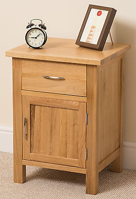 Boston Solid Oak Small Bed Side Table Unit 1 Drawer 1 Door Bedroom Furniture