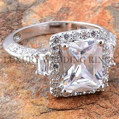 3.75Ct Emerald Cut Women's Wedding Ring Solid Silver Infinity Bridal Jewelry