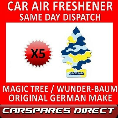 MAGIC TREE CAR AIR FRESHENER x 5 *PINA COLADA* ORIGINAL & BEST WUNDER-BAUM NEW