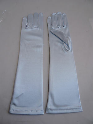 Flower Girl Party Wedding Bridesmaid Pageant Blue Color Kid's Satin Elbow Gloves