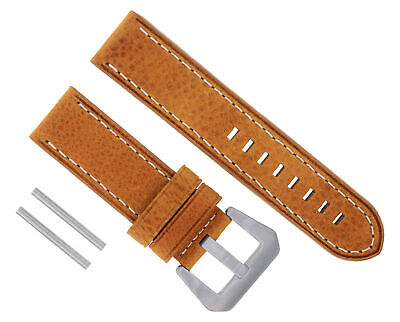 24Mm New Moon Cow Leather Watch Band Strap For Breitling Tan Ws #17