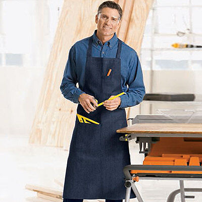 12 commercial grade navy blue denim apron with 1 pen and 1 hand pocket