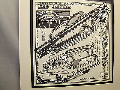 1958 Canadian Meteor  Auto Pen Ink Hand Drawn  Poster Automotive Museum
