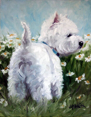Mary Sparrow - Westie West highland terrier dog daisies PRINT