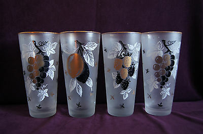 Lot of 4 Libbey satin frosted glass tumblers white gold black grapes berry fruit