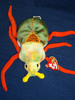 "8"" TY beanbag plush BEANIE BABY 2000 ""SCURRY"" Multi-Colored Beetle Bug w/Tag"