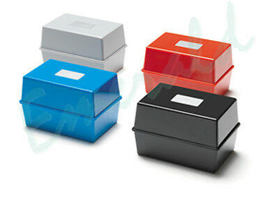 Card Index Record Box Boxes 5x3, 6x4 or 8x5 Sizes - Black Red Blue or Grey