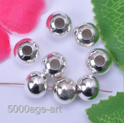 300pcs silver plated round bead loose charm spacer metal beads 4mm