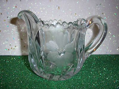 Antique Cut Glass Crystal Creamer Beautiful Deep Etched Floral Pattern Abp