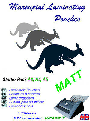 laminating starter pack of Matt pouches paper carrier plus  Marsupial A3 A4 A5
