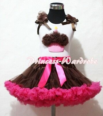 Brown Hot Pink Pettiskirt Skirt White Tank Top Brown Birthday Cupcake Set 1-8Y