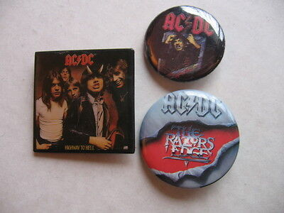 AC/DC  3 DIFF 1980'S  PINS  A NUMBER OF  SIMILAR ROCK  PINS LISTED AT THIS SITE