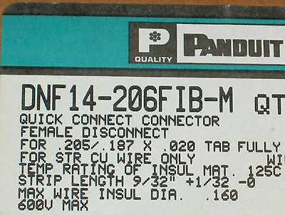 Panduit DNF14-206FIB-M 16/14 Female Disconnect, Nylon Barrel Insulated -Qty 1000