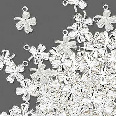 Clover Charms Shamrock Silver Pressed 4-leaf Jewelry Lot of 40