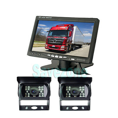 "2*IR Reverse Camera + 7"" LCD Monitor Car Rear View Kit for Bus Truck UK"