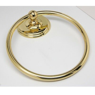 Solid Polished Brass Bathroom Wall Ring Towel Rack NEW