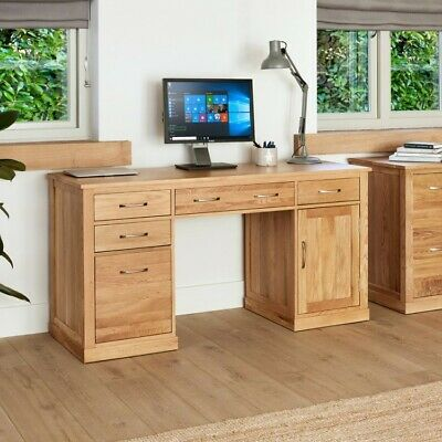 Fusion Solid Oak Wooden Large 4 Drawer Computer PC Desk Home Office Furniture