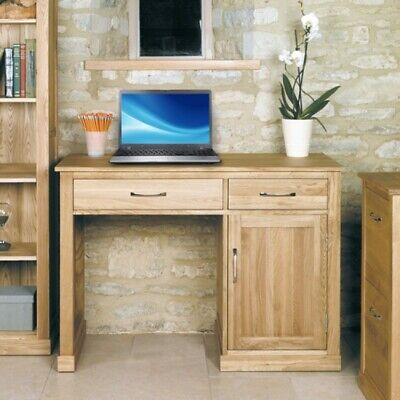 Fusion Solid Oak Wooden Furniture 1 Drawer Computer Desk Office with Cupboard