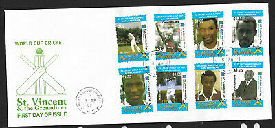 ST VINCENT 2007 CRICKET WORLD CUP Set 8 Values FDC