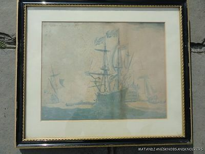 Antique Engraving Of Naval Battle Ship W.vanderveld Unusual Blue