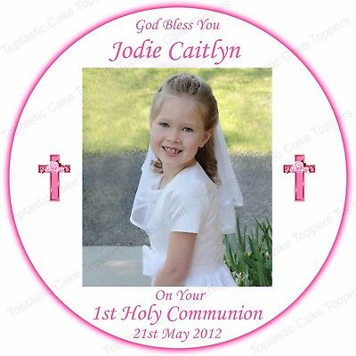 Personalised Girls 1st Holy Communion Round Edible Icing Own Photo Cake Topper