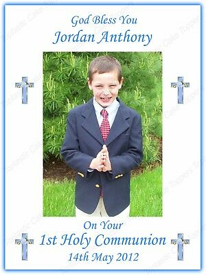 """Personalised Boys 1st Holy Communion 7.5x10"""" Edible Icing Own Photo Cake Topper"""