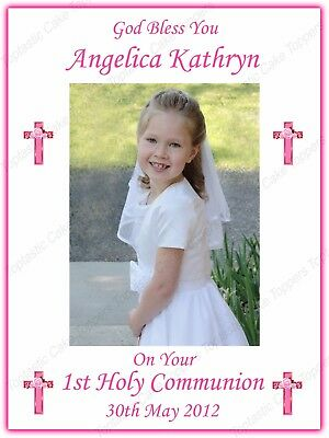 """Personalised Girls 1st Holy Communion 7.5x10"""" Edible Icing Own Photo Cake Topper"""