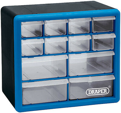 Draper 12 Drawer Multi Compartment Organiser Storage Wall Mountable Cabinet