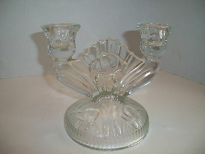 VINTAGE CLEAR GLASS CANDLE HOLDER Double Candle Stick PRESSED GLASSWARE Elegant