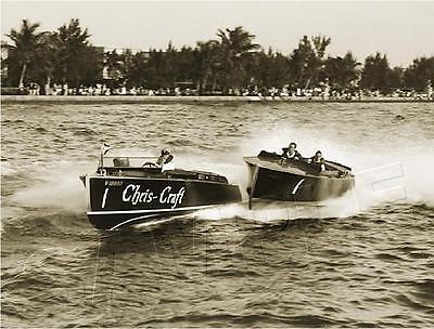 Vintage Antique Era Chris Craft Photo Reproduction *canvas* Speed Boat Art Print