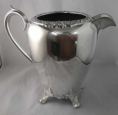 F B ROGERS - WATER PITCHER Silverplate on Copper - ROSE TRIM 2 Quart
