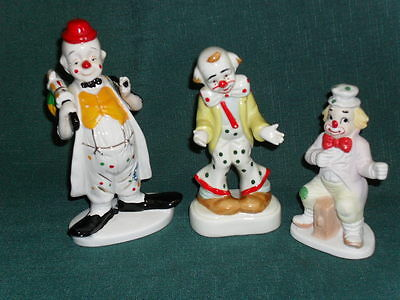 Lot of 3 miscellaneous ceramic CIRCUS CLOWNS FIGURINES