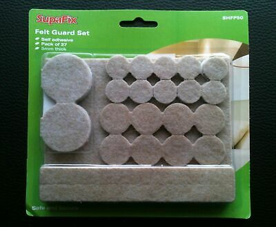 SupaFix Round Furniture Felt Pad Sets Self Adhesive 5mm Thick Protects Floors