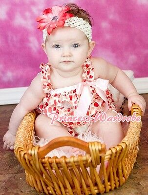NewBorn Baby Cream Pink Hearts Ruffle ONE PIECE Petti Romper Jumpsuit Girl NB-3Y