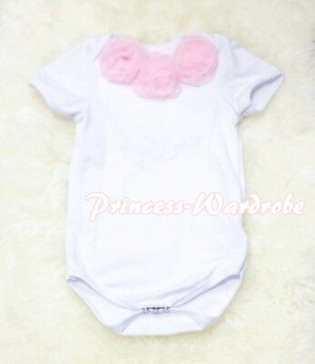 Infant Newborn BabyPure White Jumpsuit Romper with Optional Rosettes NB-12Month
